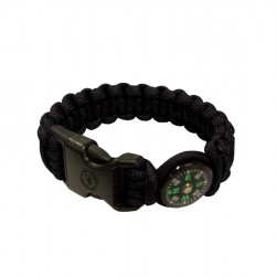 "SURVIVAL BRACELET 8"" C/BUSSOLA BLACK"